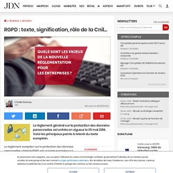 RGPD: texte, signification, rôle de la Cnil...