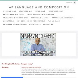 UPDATED! How to Teach the Rhetorical Analysis Paper - AP Language and Composition