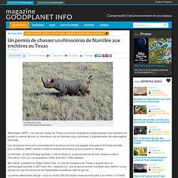 Un permis de chasser un rhinocéros de Namibie aux enchères au Texas