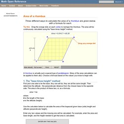 Rhombus area formula