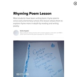 Rhyming Poem Lesson: Students Create Poems with Sound and Rhyme Techniques
