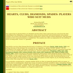 Richard A. Bartle: Players Who Suit MUDs