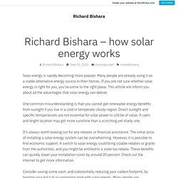 Richard Bishara – how solar energy works – Richard Bishara
