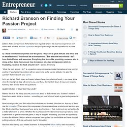 Richard Branson on Finding Your Passion Project