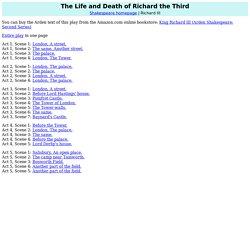 Richard III: List of Scenes