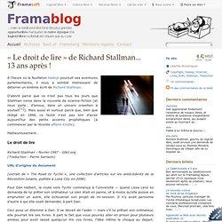 « Le droit de lire » de Richard Stallman... 13 ans après !