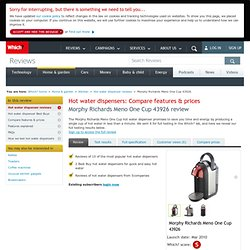 Full Specification - Morphy Richards Meno One Cup 43926 - Hot water dispenser reviews - Kitchen