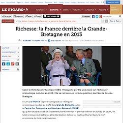 Conjoncture : Richesse: la France derrière la Grande-Bretagne en 2013
