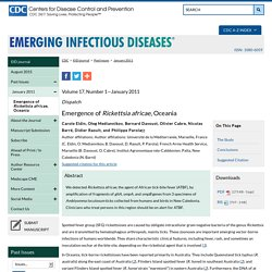 CDC EID - JANV 2011 - Emergence of Rickettsia africae, Oceania