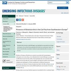 CDC EID Janv 2002 Presence of Rickettsia felis in the Cat Flea from Southwestern Europe