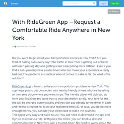 With RideGreen App –Request a Comfortable Ride Anywhere in New York