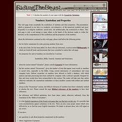 Symbolism, RidingTheBeast.com Meaning and Numerology