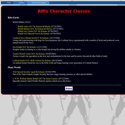 Rifts Character Classes
