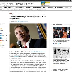 Rand Paul Was Right About GOP Vote Suppression