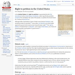 Right to petition in the United States