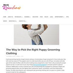 The Way to Pick the Right Puppy Grooming Clothing