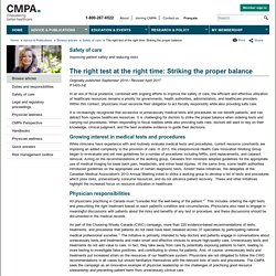 CMPA - The right test at the right time: Striking the proper balance