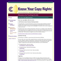 Know Your Copy Rights Brochure - Know Your Copyrights