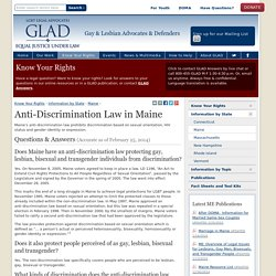 GLAD / Know Your Rights / Information by State / Maine
