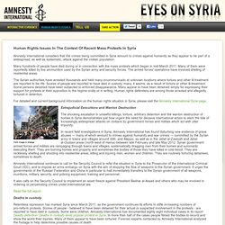 Eyes on Syria: Human Rights Issues In The Context Of Recent Mass Protests In Syria