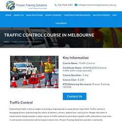 RIIWHS205D Traffic Control Course in Melbourne - Proven Training Solutions