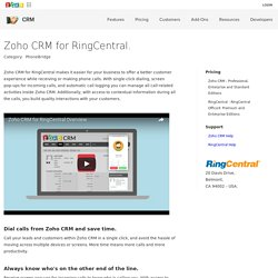 RingCentral for Zoho CRM - Zoho CRM