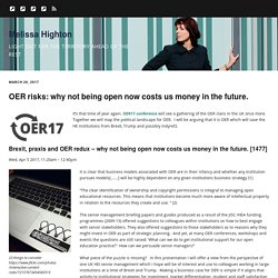 OER risks: why not being open now costs us money in the future. – Melissa Highton
