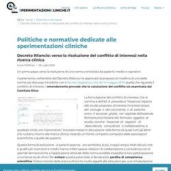 Decreto Rilancio: verso la risoluzione del conflitto di interessi nella ricerca clinica