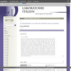 Le Risorgimento. Un enjeu de mémoire sous le fascisme