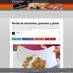 Risotto de alcachofas, guisantes y jamón