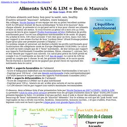 SAIN LIM Darmon Risques Bénéfices Aliments Foods Risk-Benefit