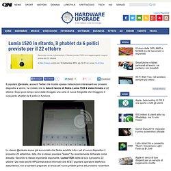 Lumia 1520 in ritardo, il phablet da 6 pollici previsto per il 22 ottobre