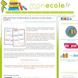 [Rituel] Prise d'information & lecture à voix haute – Cycle 3