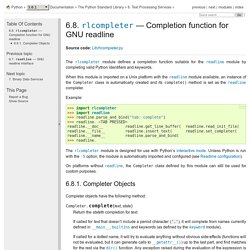 6.8. rlcompleter — Completion function for GNU readline — Python 3.5.3 documentation