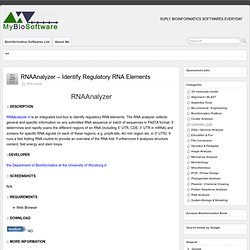 RNAAnalyzer - Identify Regulatory RNA Elements