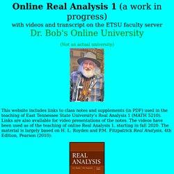 Robert Gardner's Online Real Analysis 1