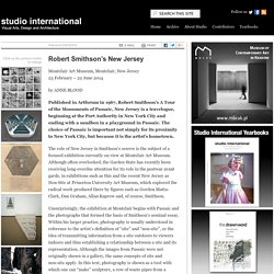 Robert Smithson's New Jersey, Studio International