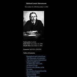critical essays on robert louis stevenson When one reads the nonfiction work of robert louis stevenson along with the novels and short stories, a more complete portrait emerges of the author than that of the.