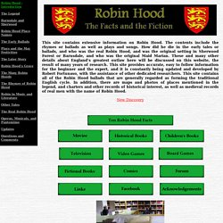 Robin Hood - The Facts and the Fiction - Legends, Stories, Songs
