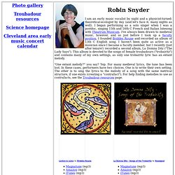 Robin Snyder's Music Homepage