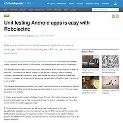 Unit testing Android apps is easy with Robolectric