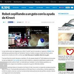 Robot cepillando a un gato con la ayuda de Kinect