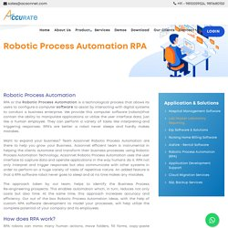 RPA Robotic Process Automation Support in India- Acsonnet.com