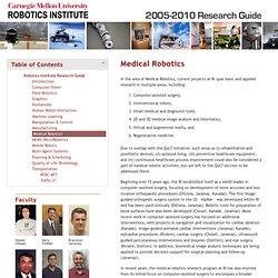 Robotics Institute Research Guide : Medical Robotics