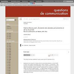 Fabrice Rochelandet, Économie des données personnelles et de la vie privée