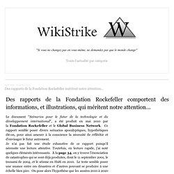 Des rapports de la Fondation Rockefeller méritent notre attention...