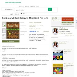 Rocks and Soil Science Mini Unit for K-3 by Mrs Schimke
