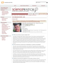 Henry L. Roediger & Jeff Karpicke - ScienceWatch.com