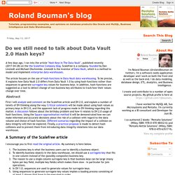 Roland Bouman's blog: Do we still need to talk about Data Vault 2.0 Hash keys?