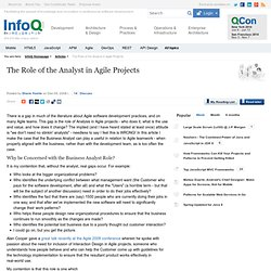The Role of the Analyst in Agile Projects